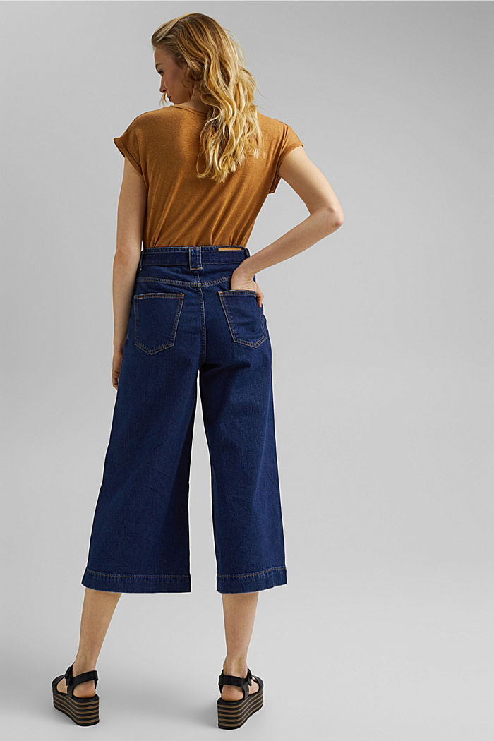 Denim culottes made of organic cotton, BLUE DARK WASHED, detail image number 3