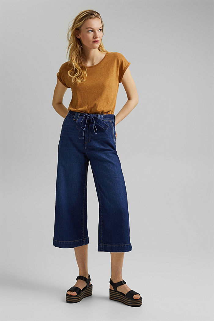 Denim culottes made of organic cotton, BLUE DARK WASHED, detail image number 6