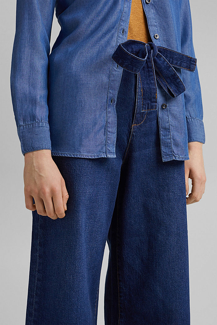 Denim culottes made of organic cotton, BLUE DARK WASHED, detail image number 2