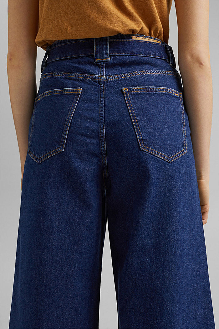 Denim culottes made of organic cotton, BLUE DARK WASHED, detail image number 5