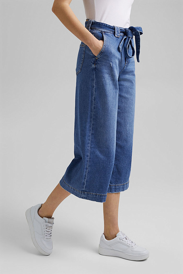Denim culottes made of organic cotton, BLUE MEDIUM WASHED, detail image number 1