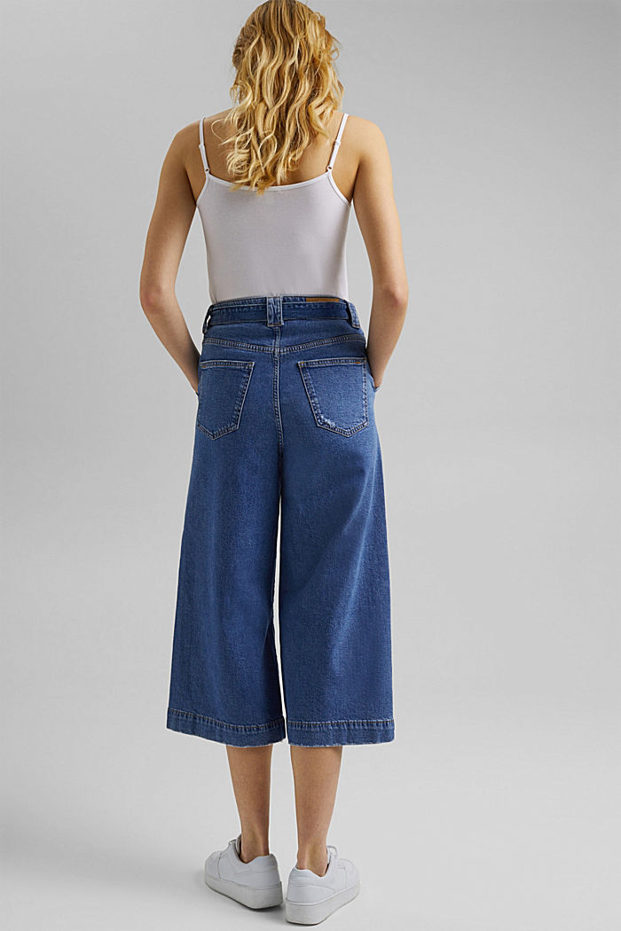 Denim culottes made of organic cotton, BLUE MEDIUM WASHED, detail image number 3