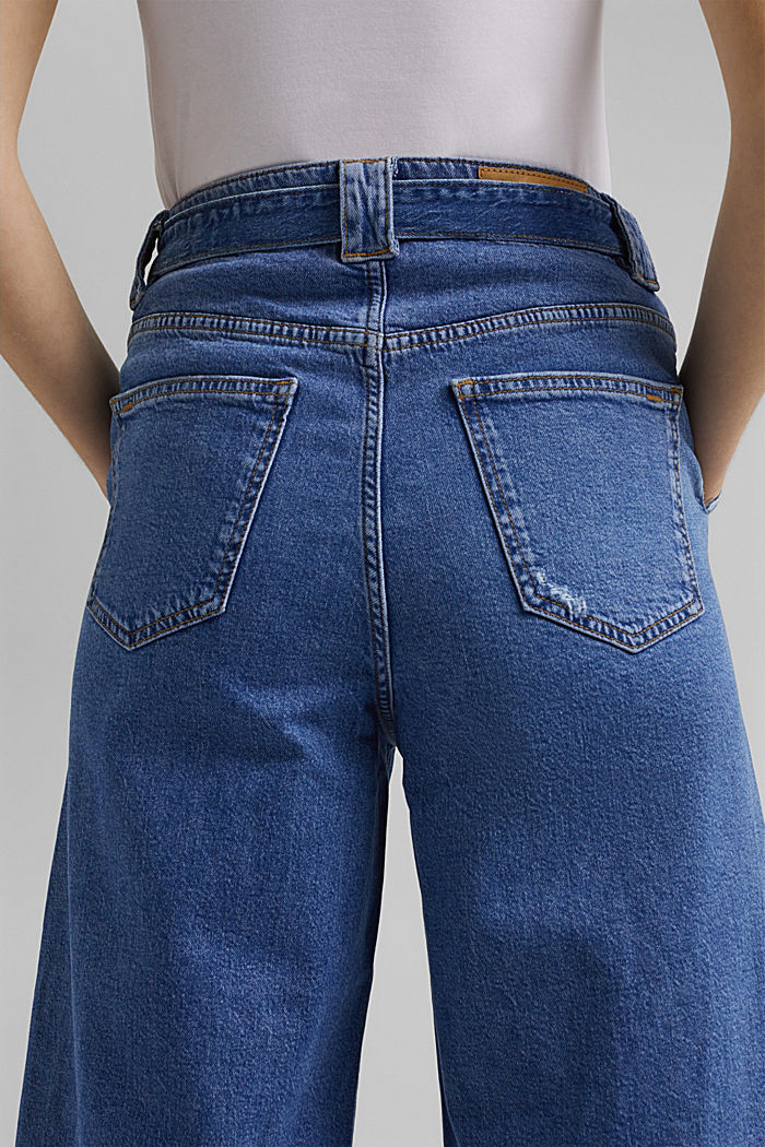 Denim culottes made of organic cotton, BLUE MEDIUM WASHED, detail image number 5