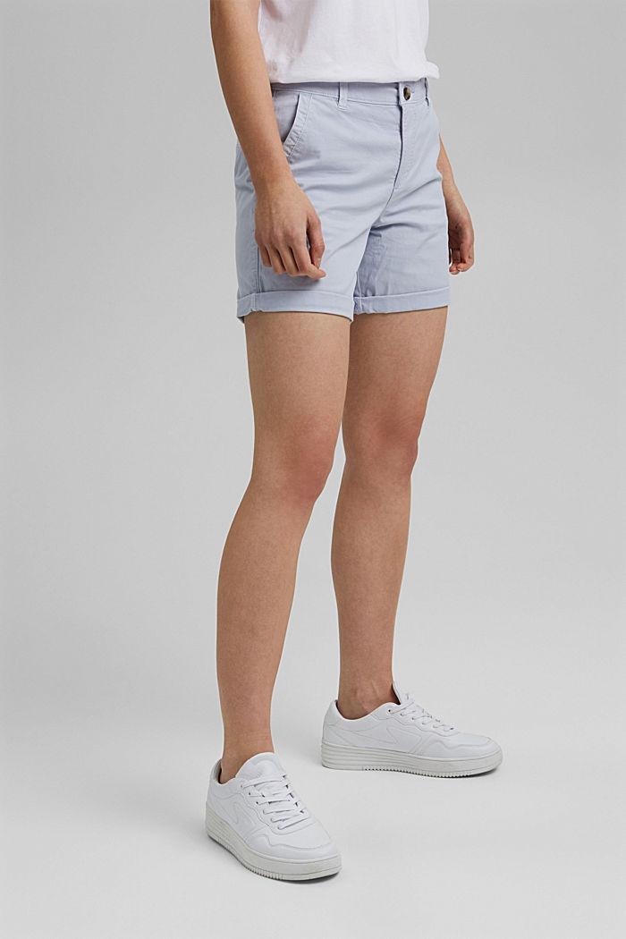 Chino shorts made of organic cotton, LIGHT BLUE LAVENDER, detail image number 0