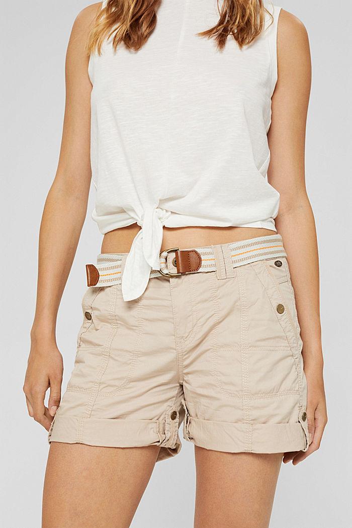 Short PLAY à ceinture, 100% coton, BEIGE, detail image number 6