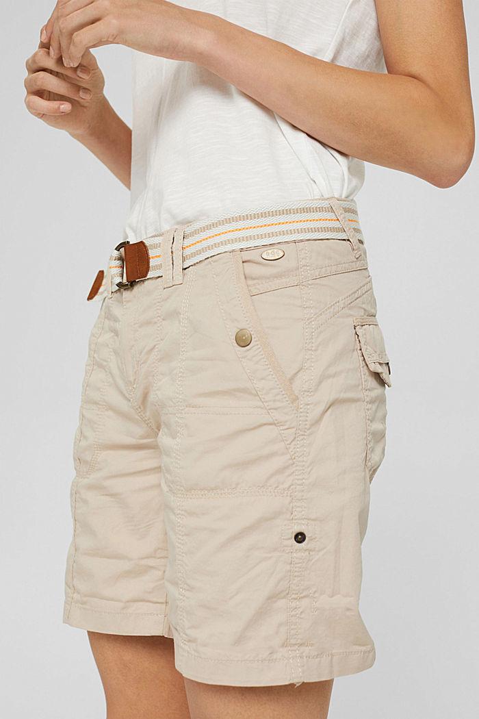 Short PLAY à ceinture, 100% coton, BEIGE, detail image number 2