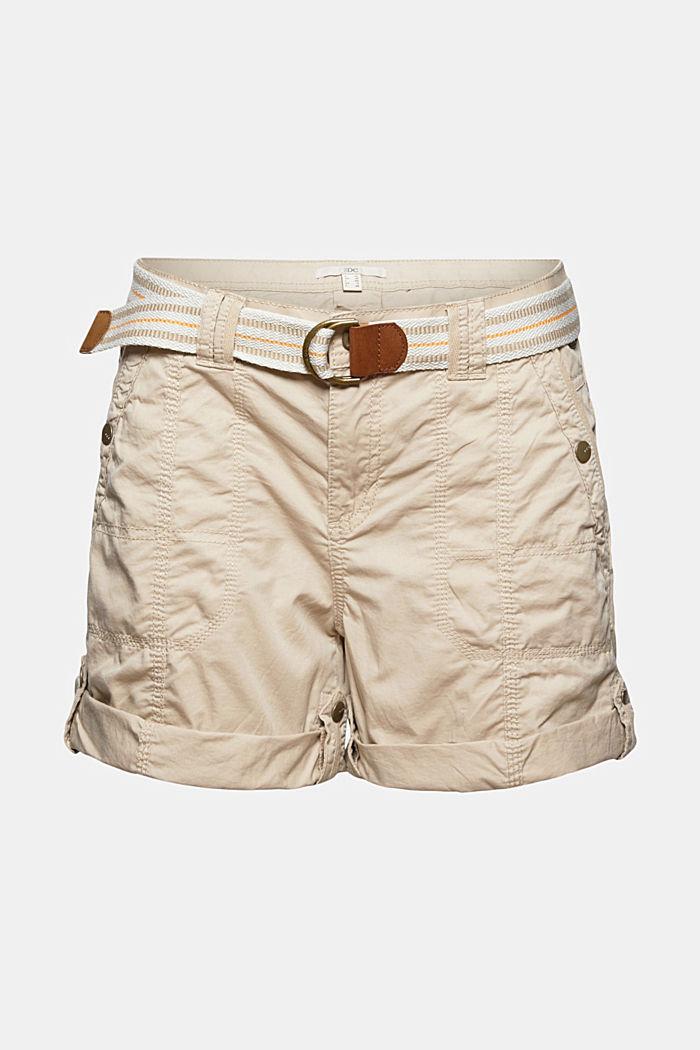 Short PLAY à ceinture, 100% coton, BEIGE, detail image number 7