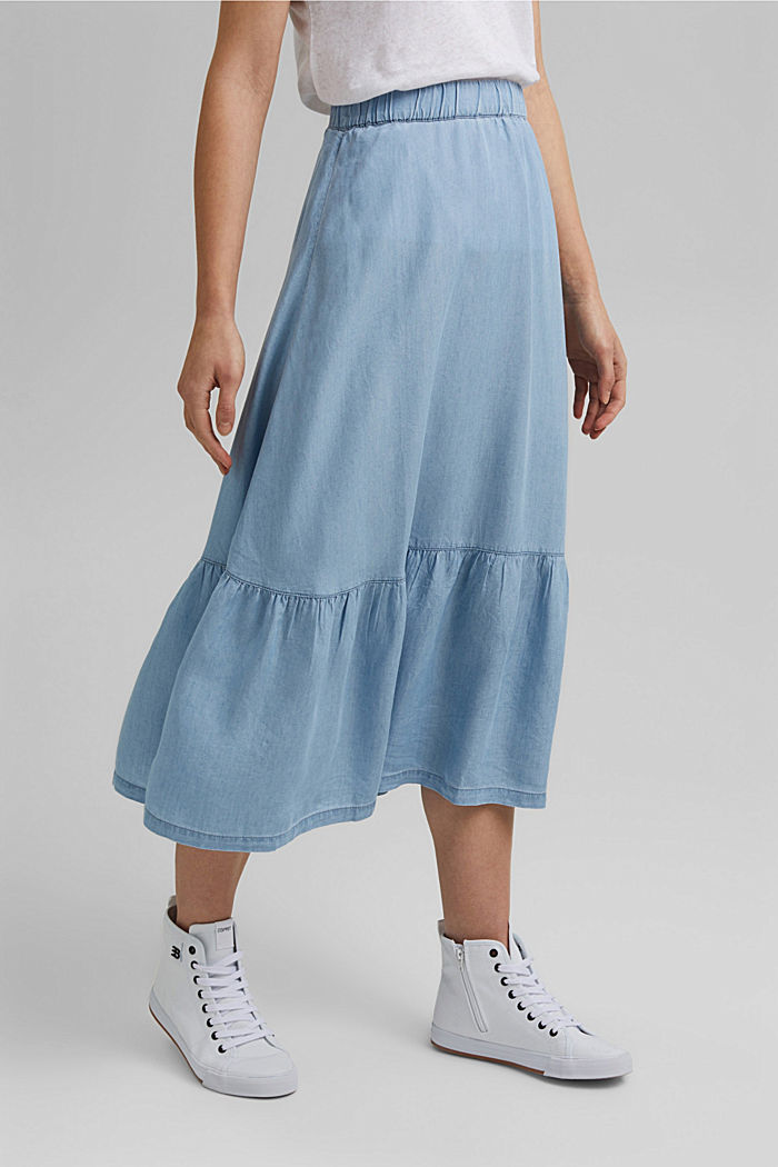 Made of TENCEL™: Denim-look midi skirt, BLUE LIGHT WASHED, detail image number 0
