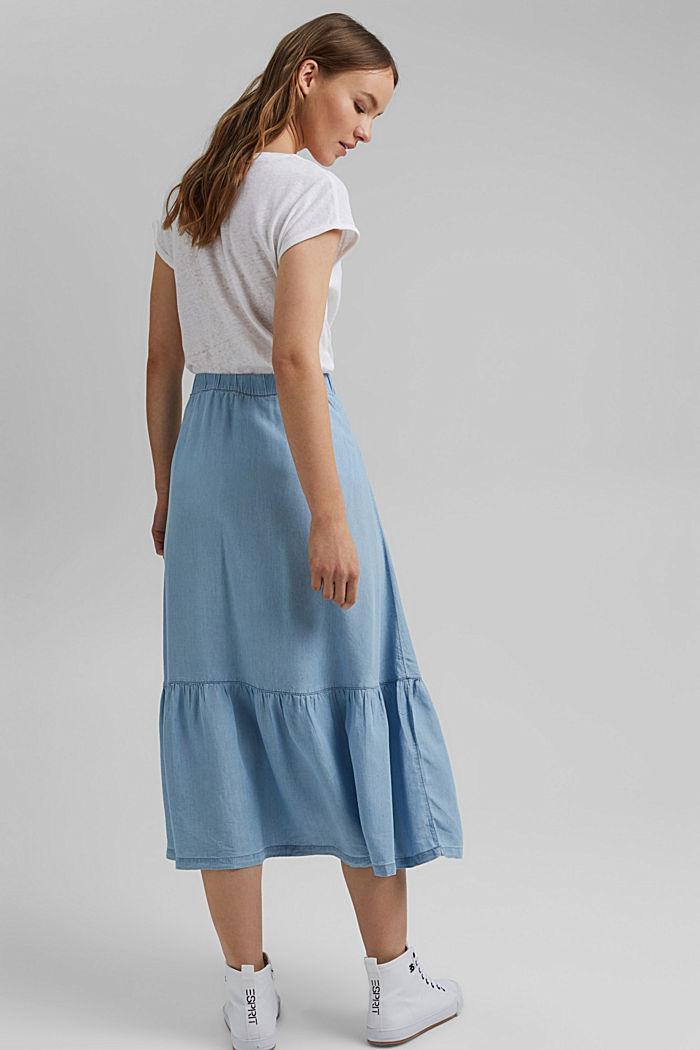 Made of TENCEL™: Denim-look midi skirt, BLUE LIGHT WASHED, detail image number 3