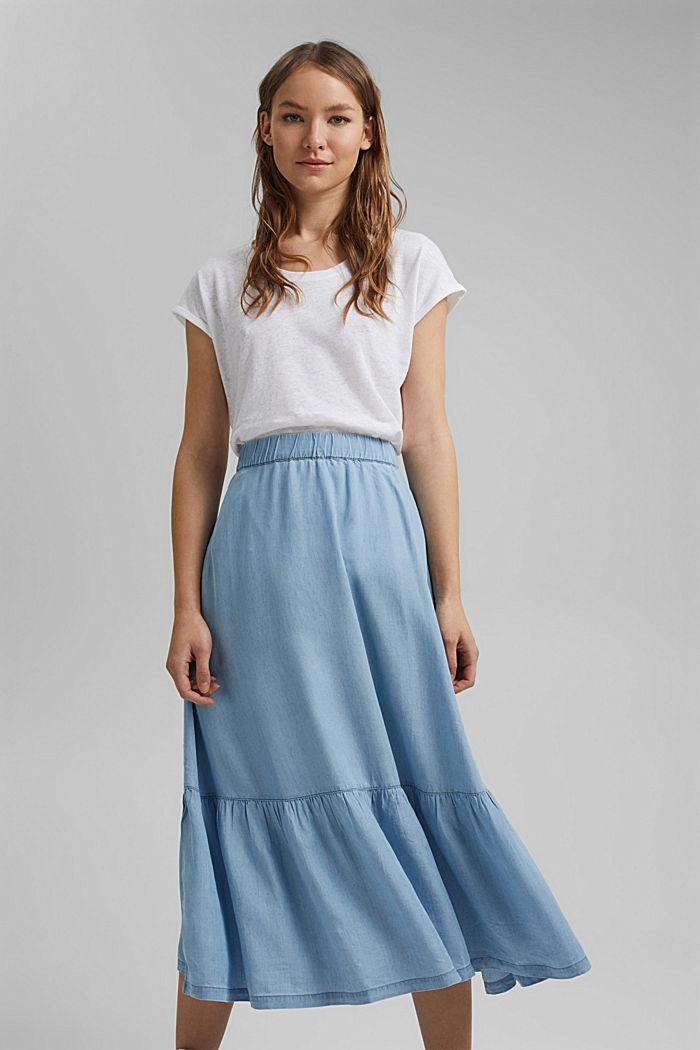 Made of TENCEL™: Denim-look midi skirt