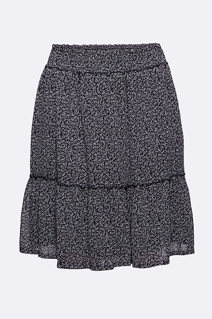 Recycled: Chiffon mini skirt, NAVY, overview