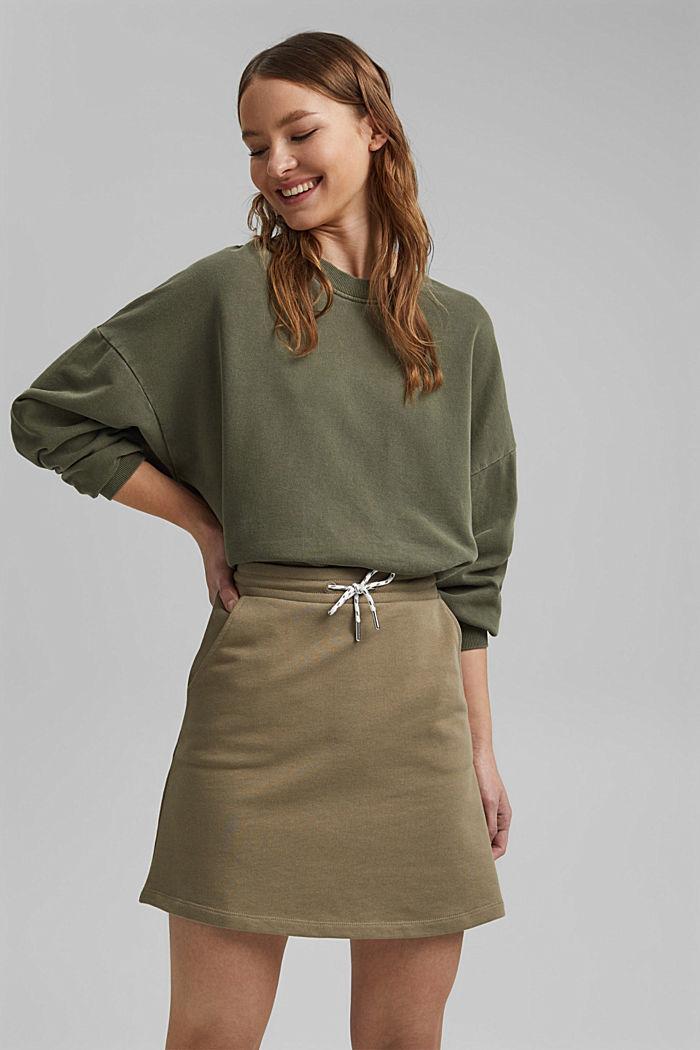 Sweatshirt skirt in 100% organic cotton, LIGHT KHAKI, detail image number 5
