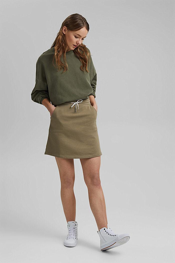 Sweatshirt skirt in 100% organic cotton, LIGHT KHAKI, detail image number 1