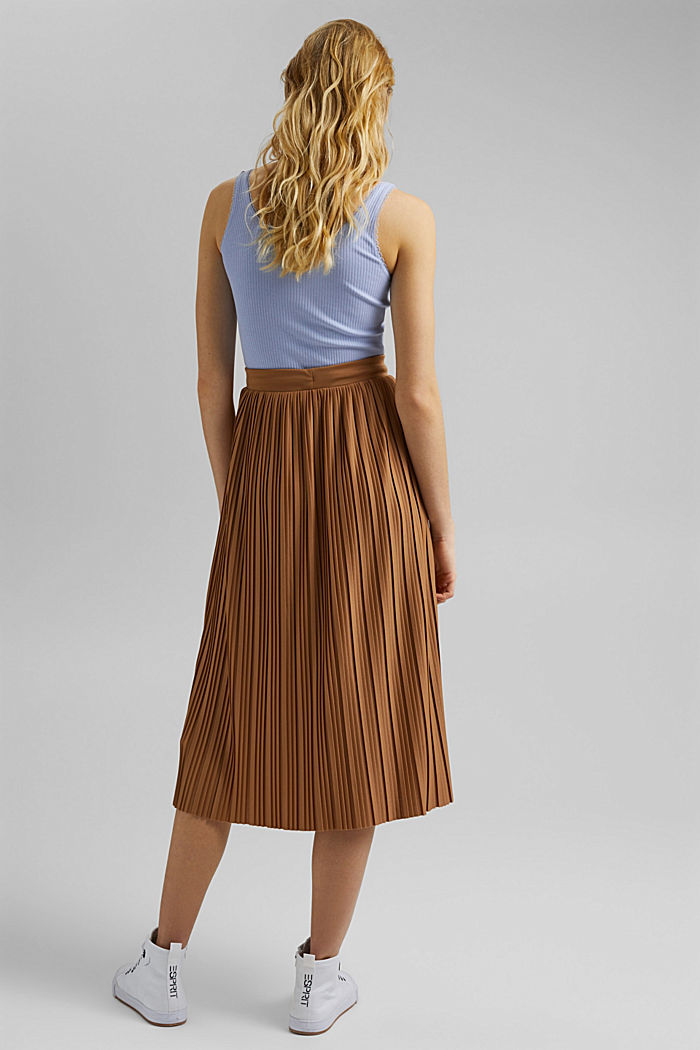 Recycled: pleated jersey skirt, CARAMEL, detail image number 3