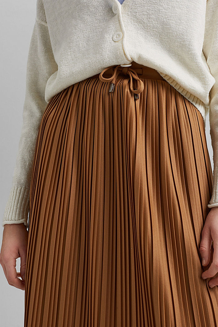 Recycled: pleated jersey skirt, CARAMEL, detail image number 2
