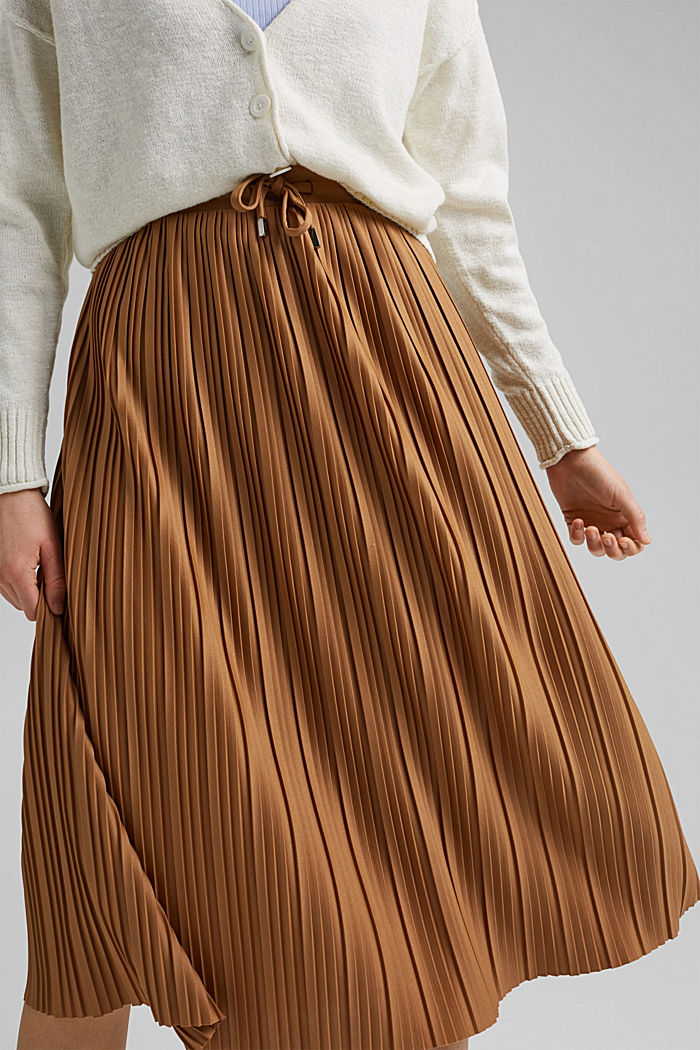 Recycled: pleated jersey skirt, CARAMEL, detail image number 5