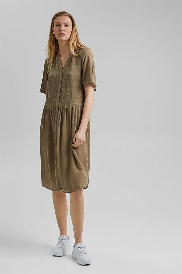 Blusen-Kleid mit Smok, LENZING™ ECOVERO™, LIGHT KHAKI, detail image number 1