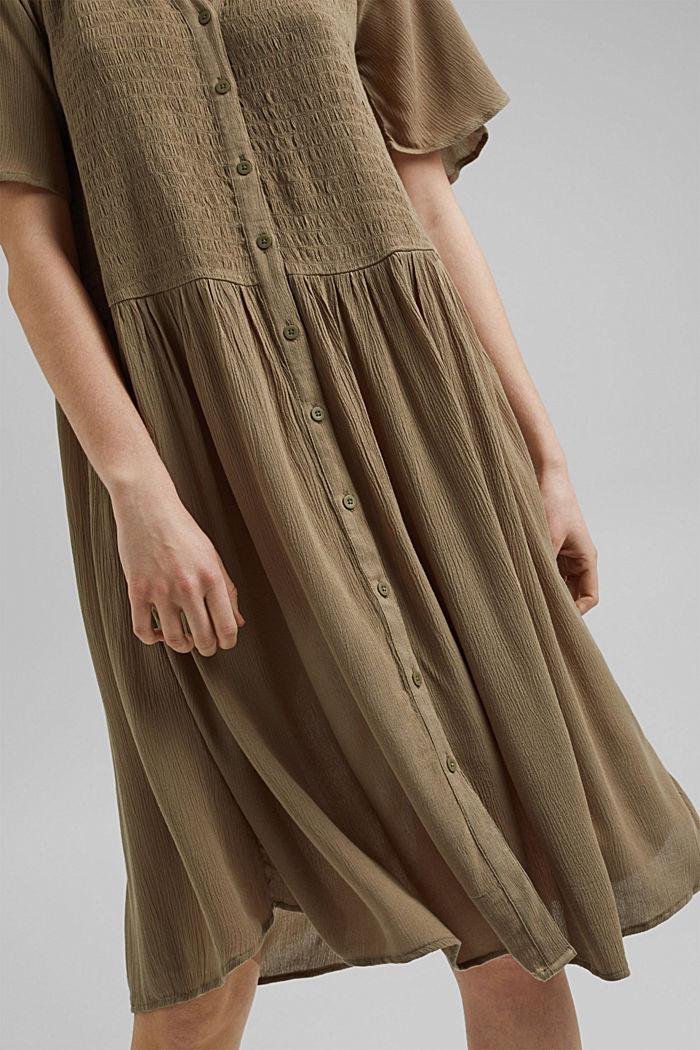Blusen-Kleid mit Smok, LENZING™ ECOVERO™, LIGHT KHAKI, detail image number 3