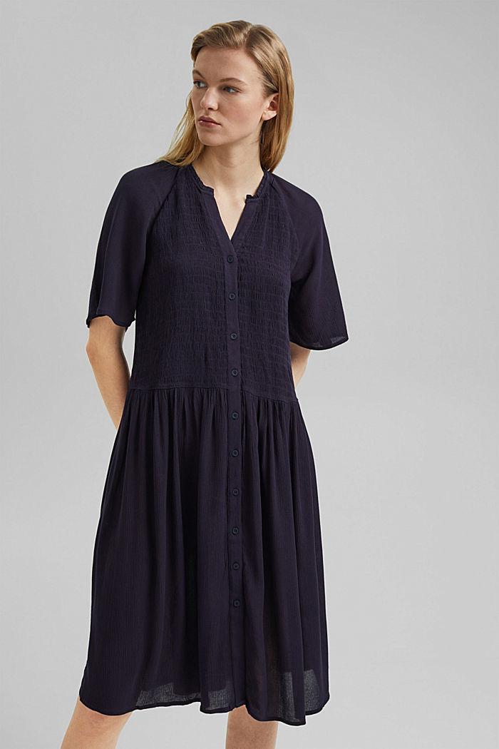 Smocked shirt dress, LENZING™ ECOVERO™, NAVY, detail image number 0