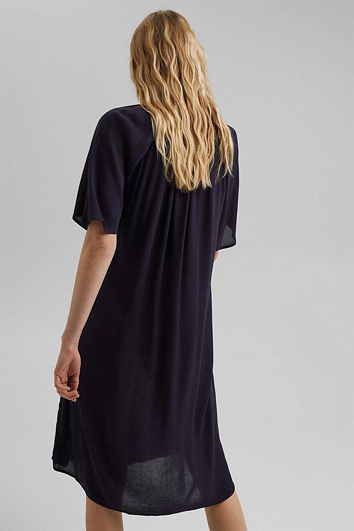 Smocked shirt dress, LENZING™ ECOVERO™, NAVY, detail image number 2