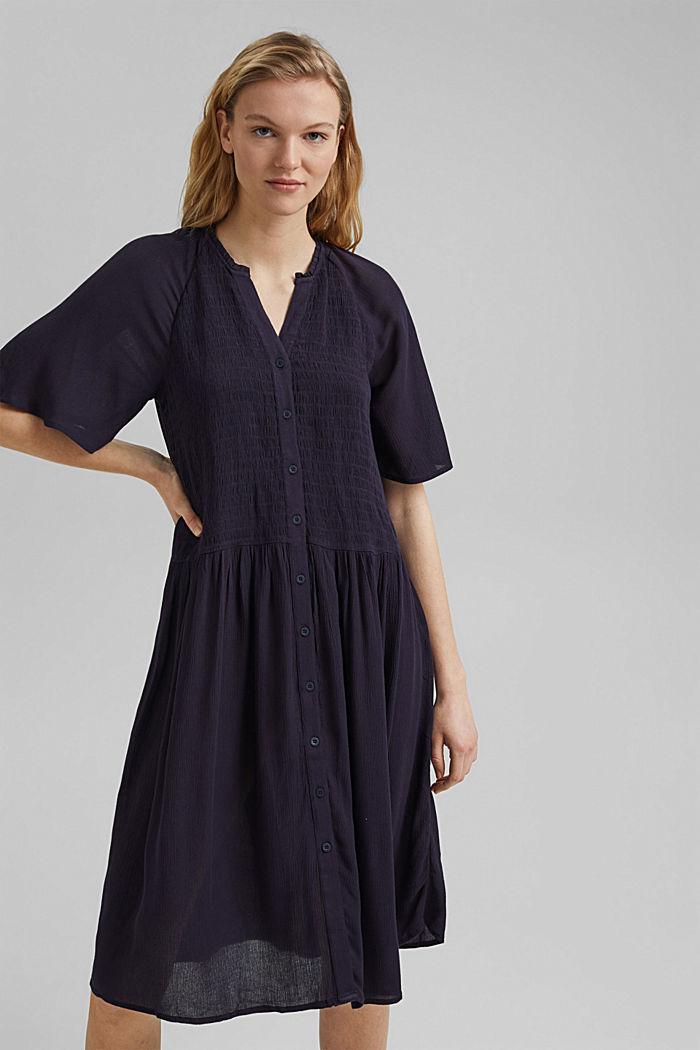 Smocked shirt dress, LENZING™ ECOVERO™, NAVY, detail image number 5