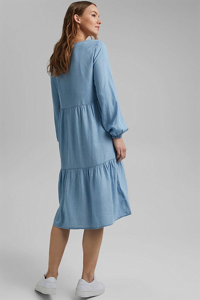 Made of TENCEL™: Denim dress with flounces, BLUE LIGHT WASHED, detail image number 2