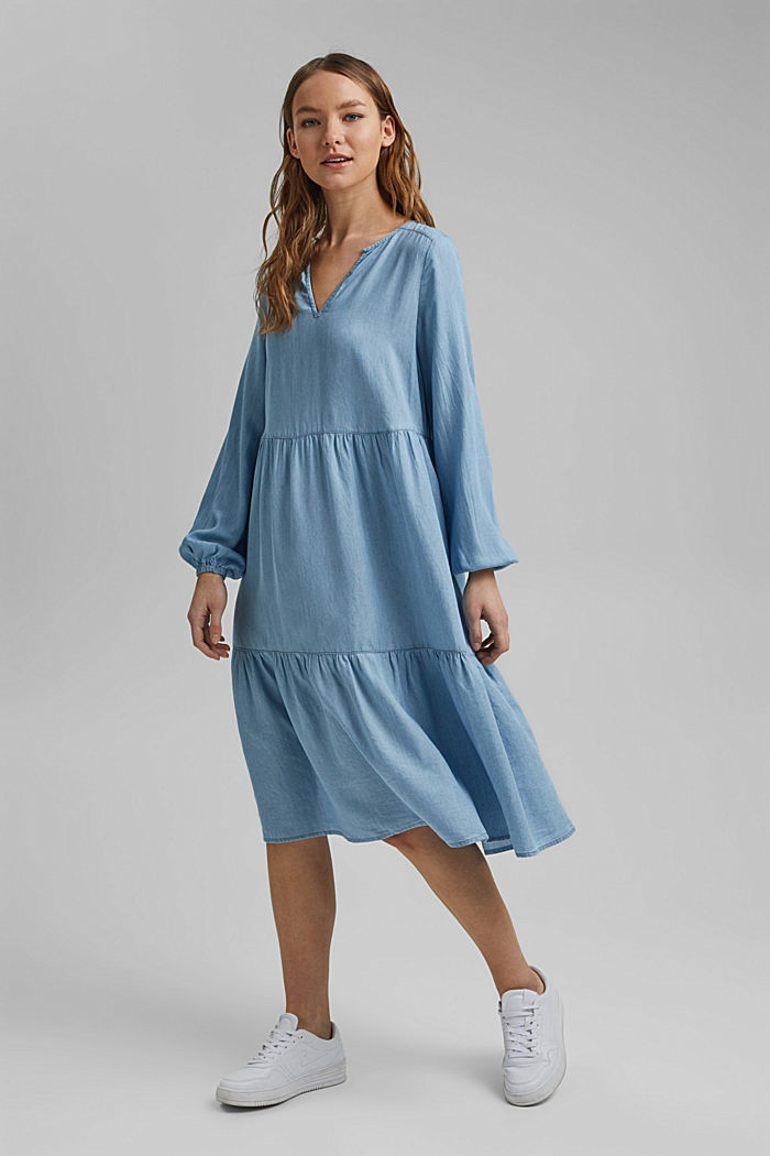 Made of TENCEL™: Denim dress with flounces, BLUE LIGHT WASHED, detail image number 1