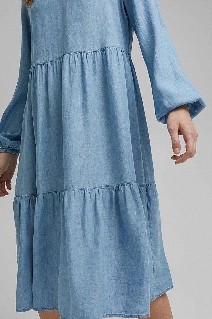 Made of TENCEL™: Denim dress with flounces, BLUE LIGHT WASHED, detail image number 3