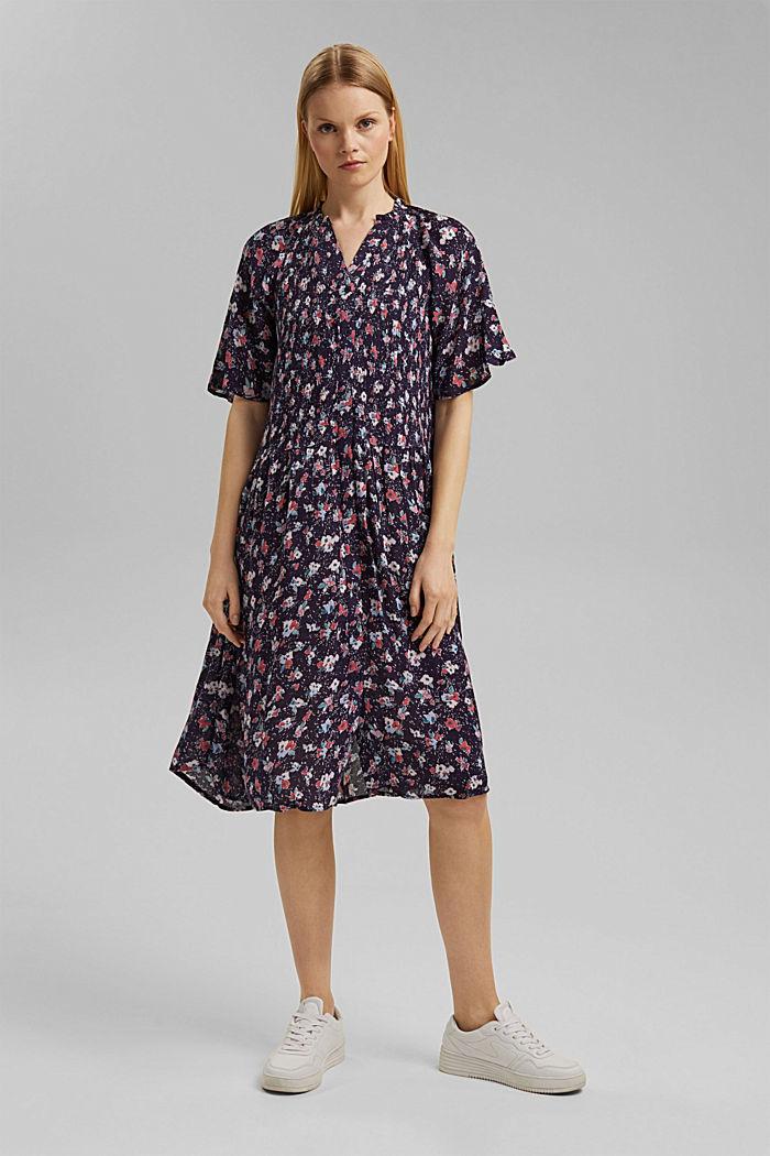 Blusen-Kleid mit Smok, LENZING™ ECOVERO™, NAVY, detail image number 1