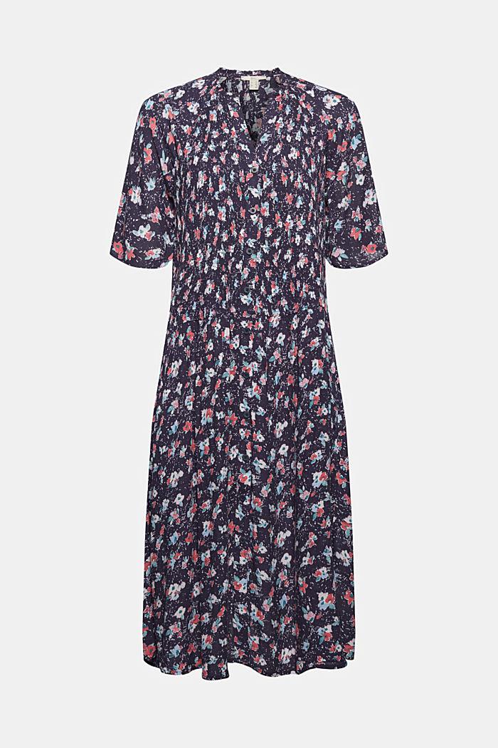 Blusen-Kleid mit Smok, LENZING™ ECOVERO™, NAVY, detail image number 4