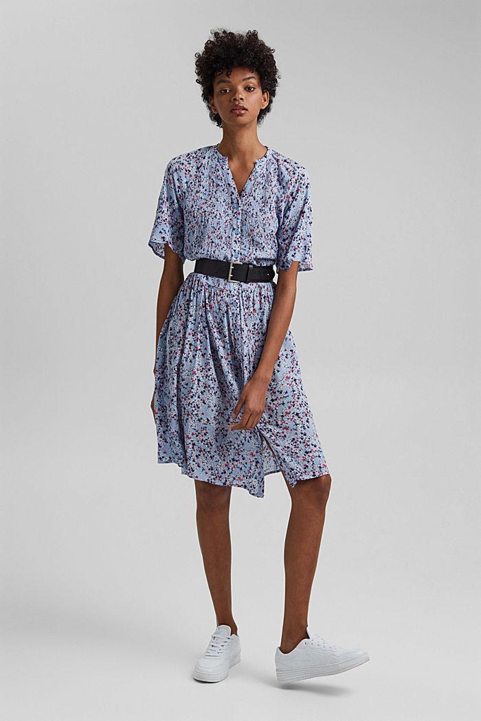 Blusen-Kleid mit Smok, LENZING™ ECOVERO™, LIGHT BLUE LAVENDER, detail image number 1