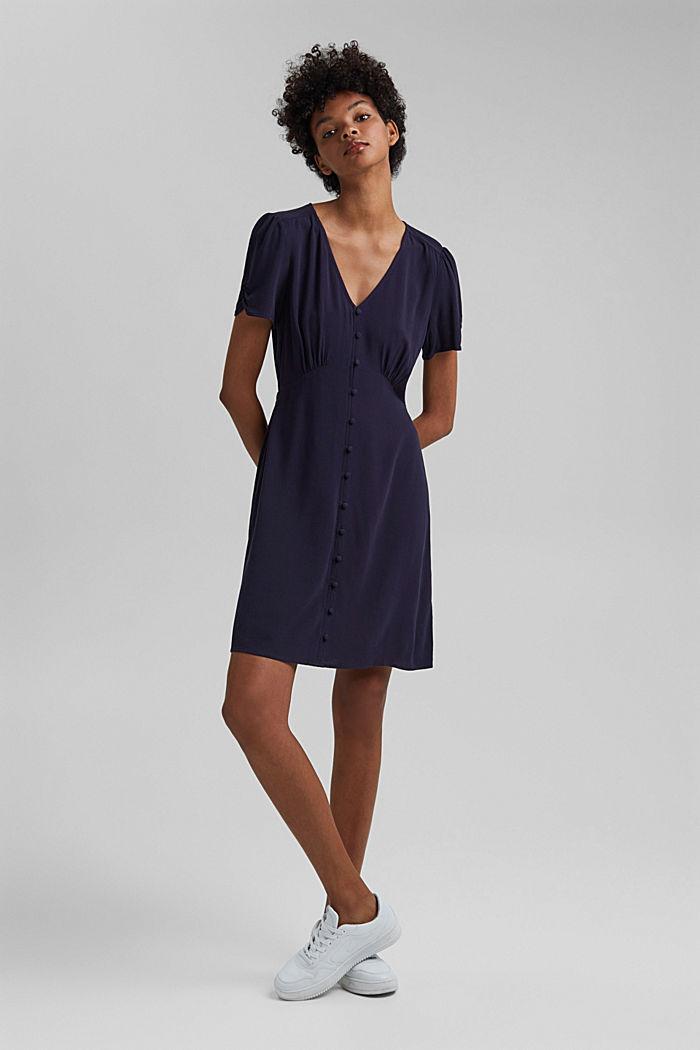 Printed shirt dress, LENZING™ ECOVERO™, NAVY, detail image number 1