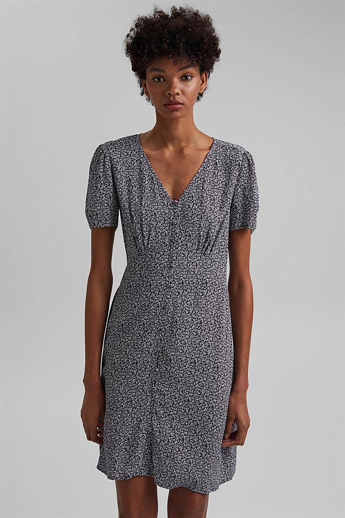 Gemustertes Kleid aus LENZING™ ECOVERO™, NAVY, detail image number 0