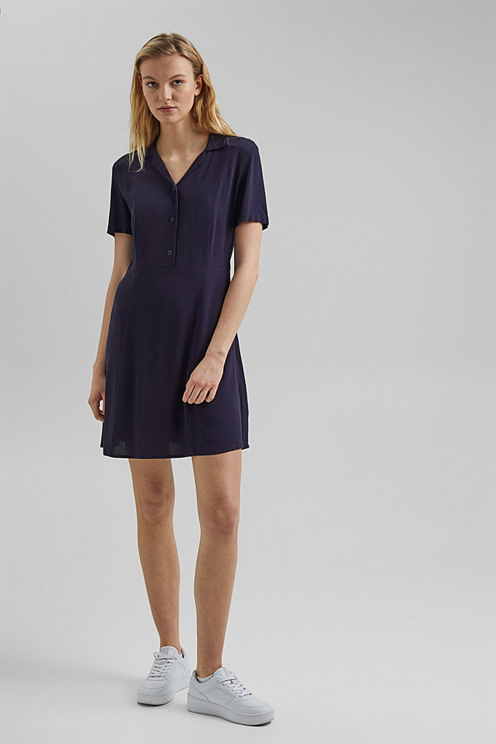 Shirt dress made of LENZING™ ECOVERO™, NAVY, detail image number 0