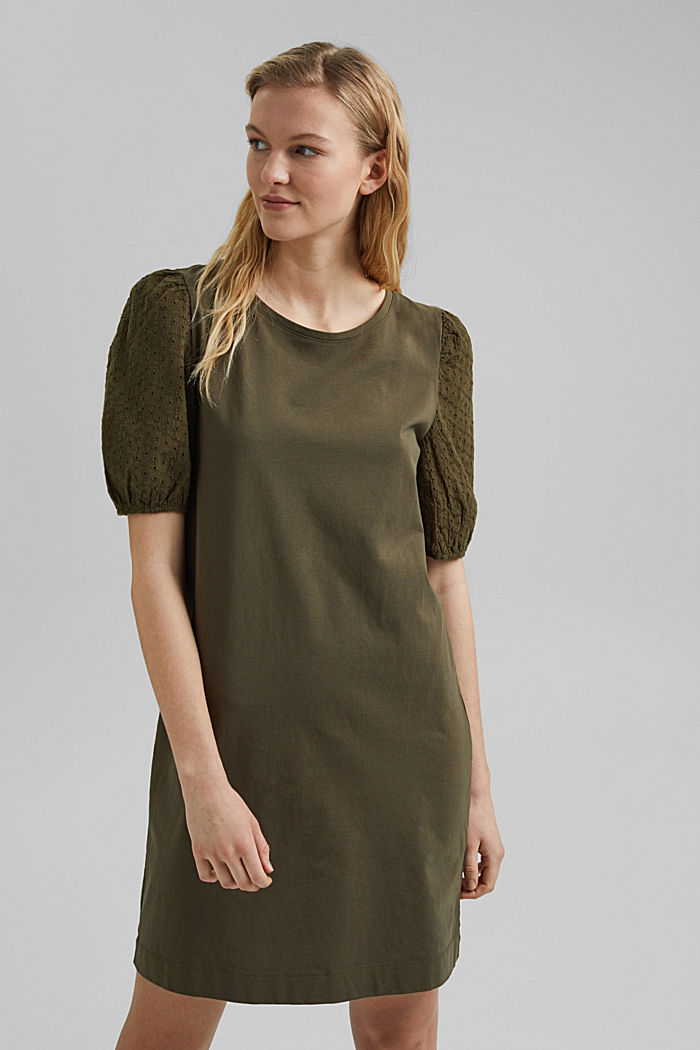 Jersey dress trimmed with broderie anglaise, organic cotton, KHAKI GREEN, detail image number 0