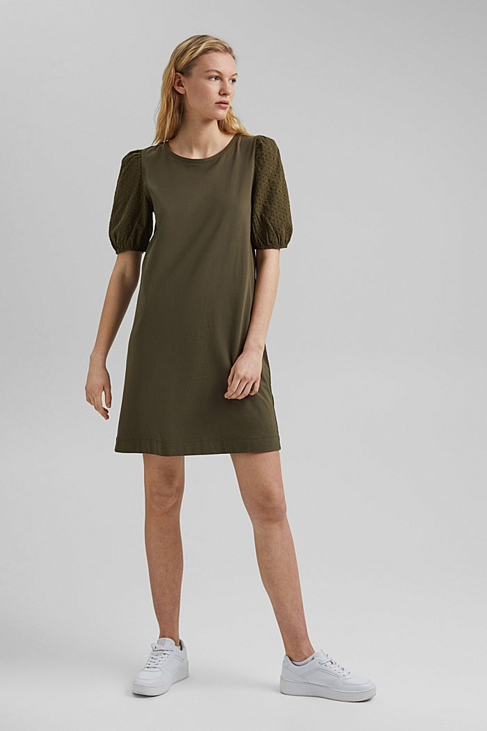 Jersey dress trimmed with broderie anglaise, organic cotton, KHAKI GREEN, detail image number 1