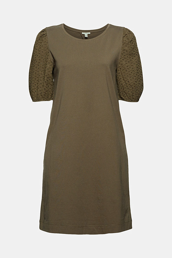 Jersey dress trimmed with broderie anglaise, organic cotton, KHAKI GREEN, detail image number 6