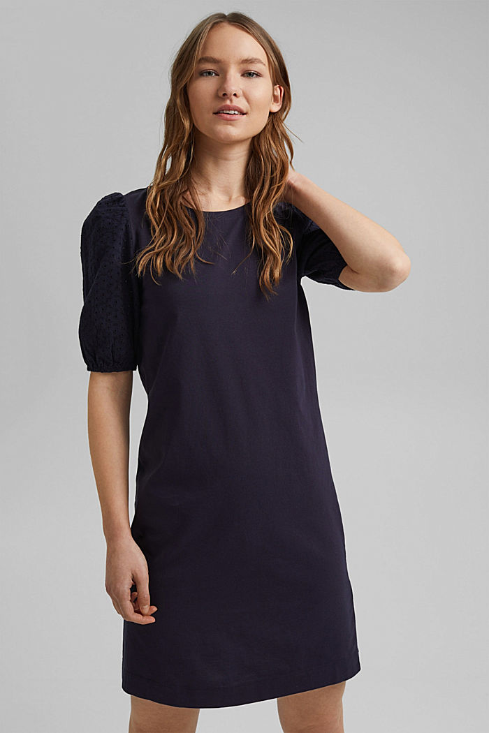Jersey dress trimmed with broderie anglaise, organic cotton, NAVY, detail image number 0