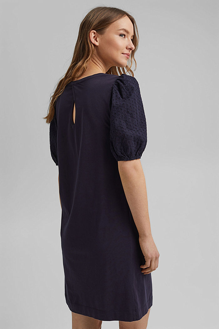 Jersey dress trimmed with broderie anglaise, organic cotton, NAVY, detail image number 2