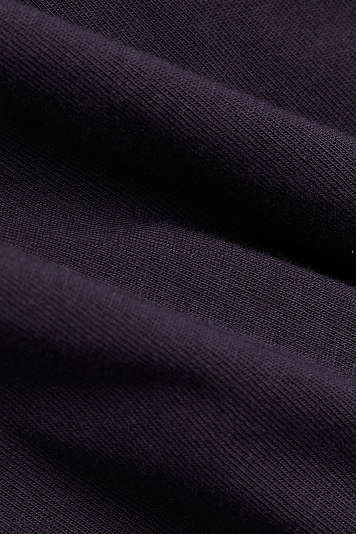 Jersey dress trimmed with broderie anglaise, organic cotton, NAVY, detail image number 4
