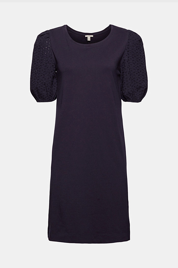 Jersey dress trimmed with broderie anglaise, organic cotton, NAVY, detail image number 7