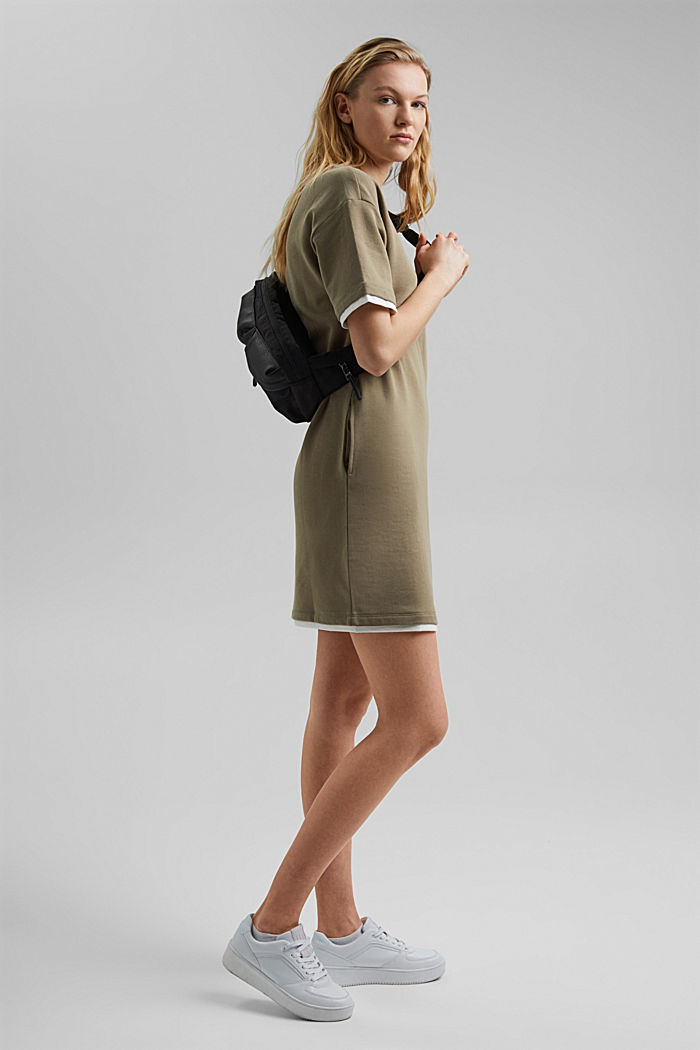 Sweatshirt dress made of organic cotton, LIGHT KHAKI, detail image number 0