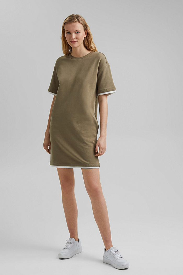 Sweatshirt dress made of organic cotton, LIGHT KHAKI, detail image number 1