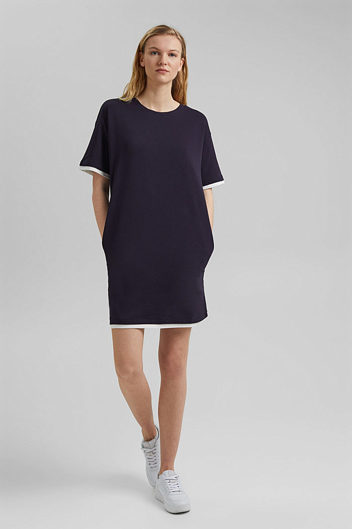 Sweatshirt dress made of organic cotton, NAVY, detail image number 1