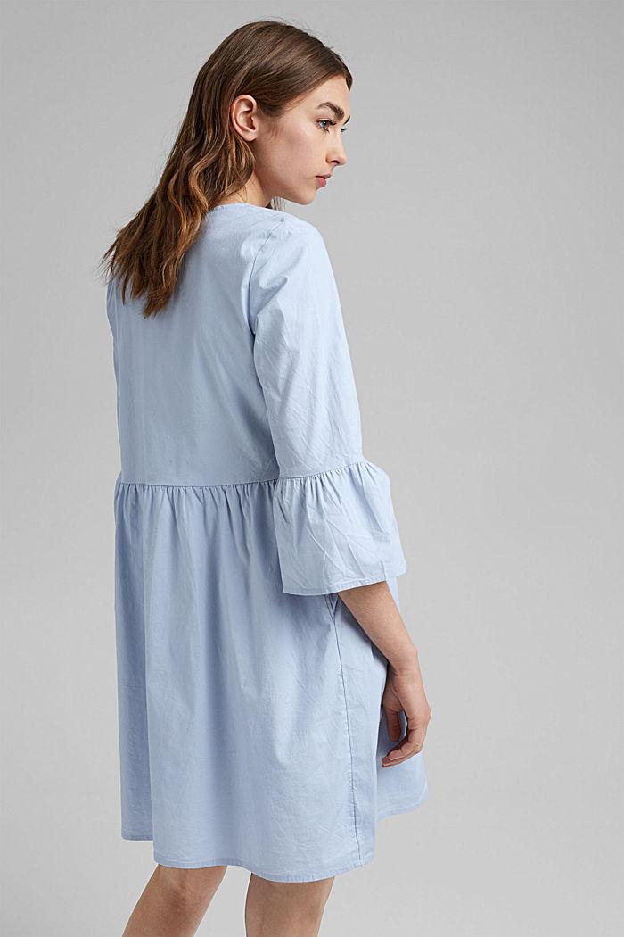 Robe en popeline à manches à volants, coton biologique, LIGHT BLUE LAVENDER, detail image number 2