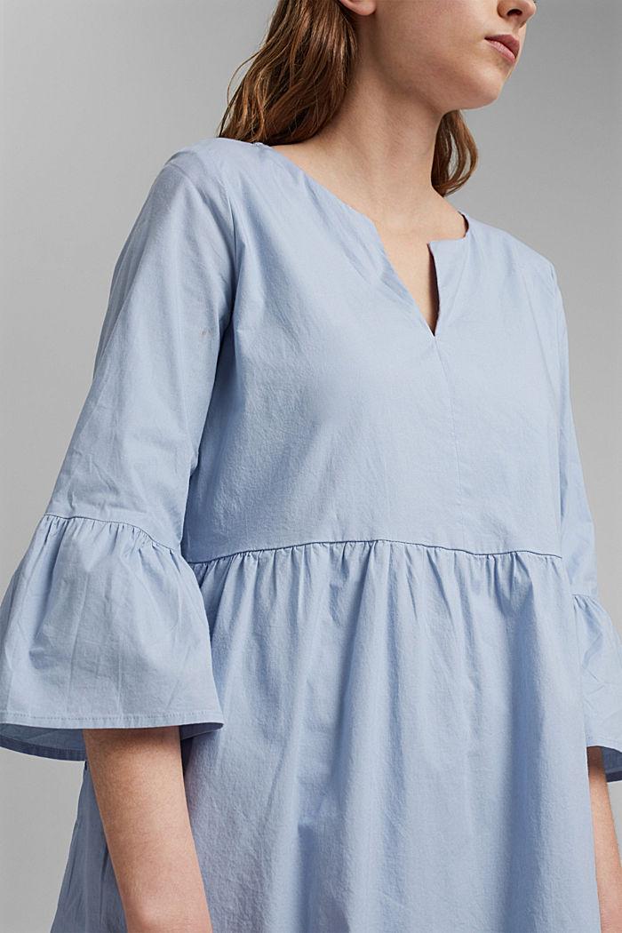 Robe en popeline à manches à volants, coton biologique, LIGHT BLUE LAVENDER, detail image number 3