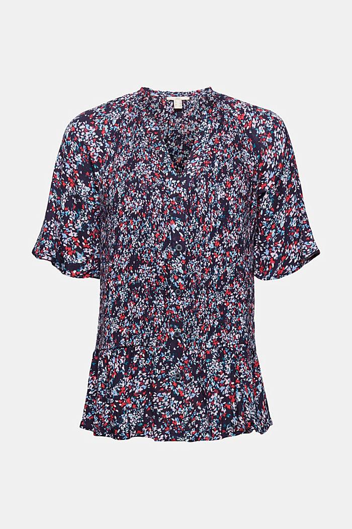 Gesmokte blouse met print, LENZING™ ECOVERO™