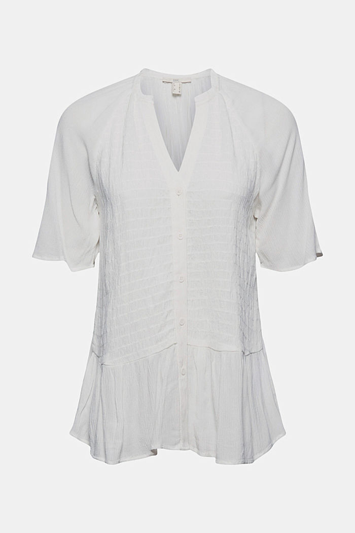 Smocked peplum blouse, LENZING™ ECOVERO™, OFF WHITE, detail image number 5