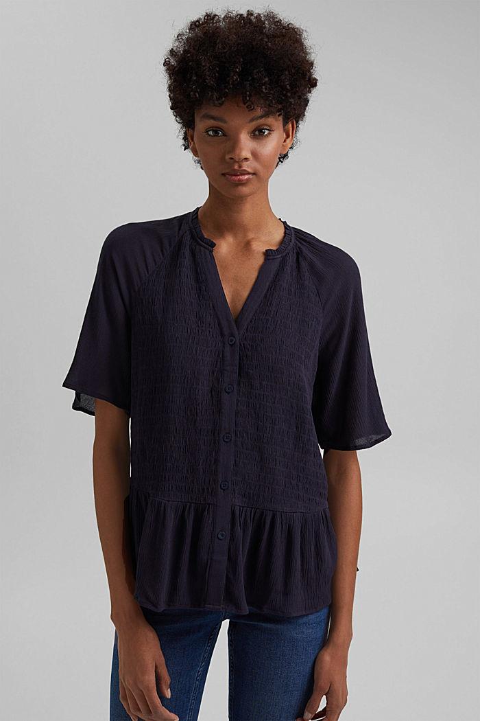 Smocked peplum blouse, LENZING™ ECOVERO™, NAVY, detail image number 0