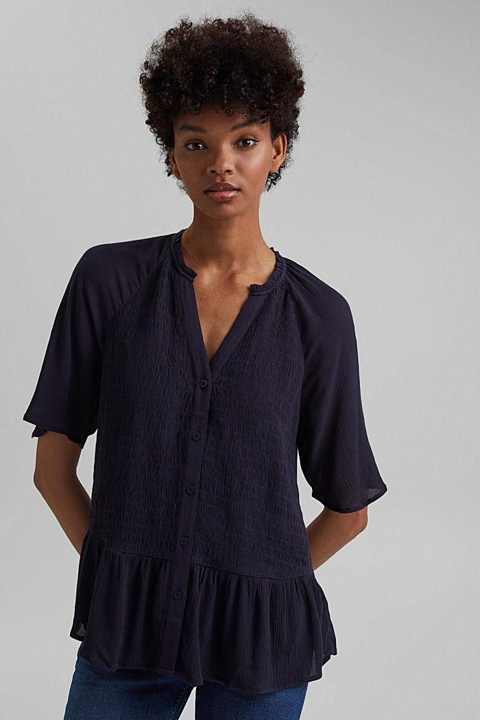 Smocked peplum blouse, LENZING™ ECOVERO™, NAVY, detail image number 5